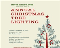 Tuesday, December 10, at 6:00pm Christmas Tree Lighting Ceremony at City Hall